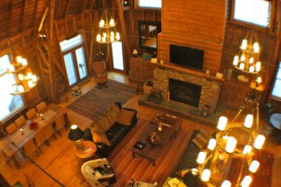 View of the main living room from the loft