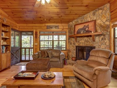 Photo for Dog-friendly cabin in the woods w/ fireplace, two decks