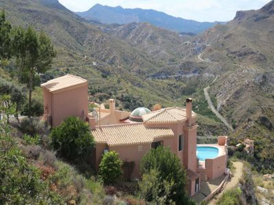 Photo for Luxury villa with private heated pool,fabulous mountain views,15 mins from beach