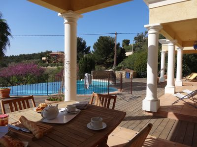 Photo for Spacious villa with sea view, swimming pool, landscaped garden, quiet, near beaches