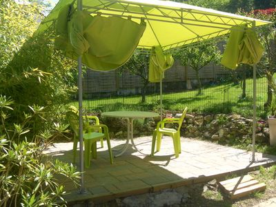 Photo for quiet studio fully equipped 500 m from the lake with barbecue, garden furniture