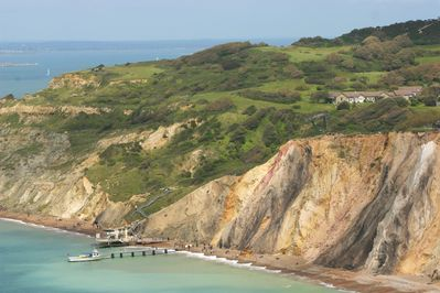 From from coastal path back towards property to right above the famous sands