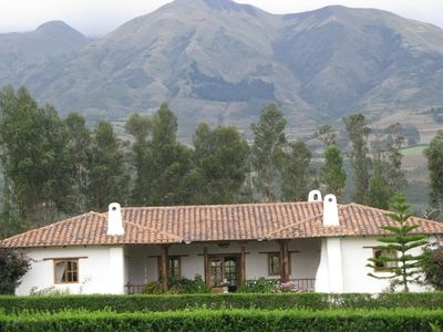 Our adobe house with 18,000' Mt Cotacachi in background