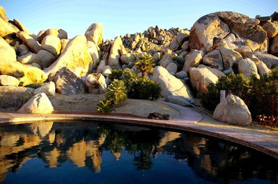 Salt water pool.Joshua Tree park boundary is adjacent to our boulders.