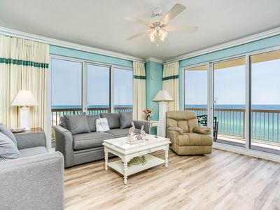 Photo for Breathtaking top-floor corner unit! Sweeping views of the Gulf of Mexico! Exercise room on-site!