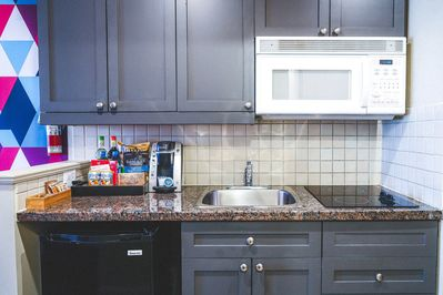 Tuck into a great snack you've prepared in your kitchenette.