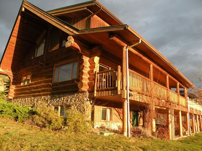Upper 2 stories of this log home -nearly 5000sqft of decks & indoor living space