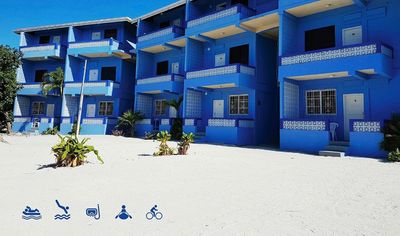 Photo for Beach front, balcony w/ sea view, Wifi, kayak+bikes rentals, 'Double room'-AR
