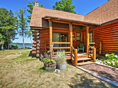 Photo for Waterfront Lake Leelanau Log Cabin w/Private Dock!