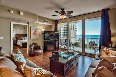 Great views, large 55 inch TV and an electric fireplace in living room
