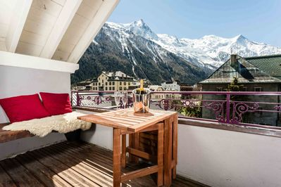 Enjoy the balcony views of Mont Blanc and Aiguille du Midi