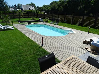Photo for Beachfront house, heated pool, spa and sauna, 5 mins from the beaches, 8 travelers