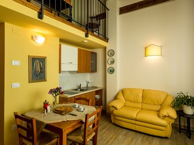 Photo for Attic apartment in farmhouse with swimming pool, for 4 people