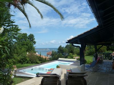 Photo for Beautiful villa, sea view 150m Socoa beach, swimming pool, jacuzzi, billiards.