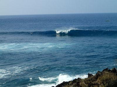 Watch surfers while you eat lunch on your lani