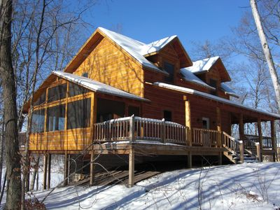 """Photo for """"Hyggelig"""" (cozy) winter cabin with breathtaking interiors on private lake"""