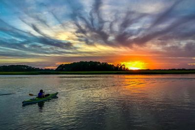 Enjoy a spectacular sunset from the boat dock or from a kayak!