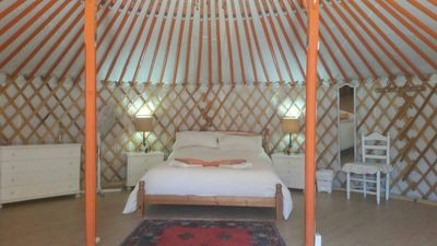 Photo for Unique Mongolian Yurt , romantic, secluded with private pool,  sleeps 5 , wifi,