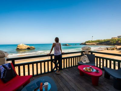 Photo for Beachfront Apartment with Terrace, Parking and Access to Pool in Biarritz