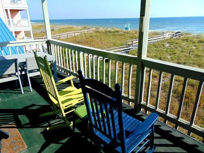 Oceanfront seating to watch sunrise over Atlantic