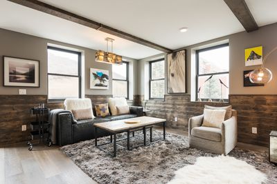 Contemporary Main Street condo with modern mountain decor and private deck,  steps from Town Lift - Old Town