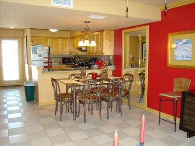 Fully equipped kitchen with dining table that seats 6 persons.