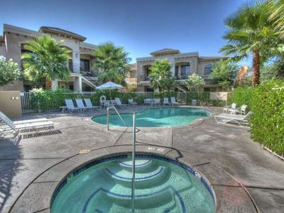 There are 4 pools and spa's on the property with mountain views and palm trees.