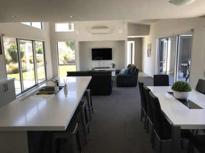 Kitchen, dining and lounge open plan