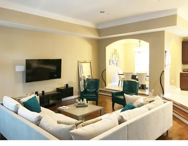 Large open living room/dining room space. Great for relaxing!