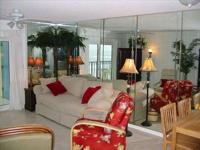 Beachfront Living Room with beach and Gulf just outside