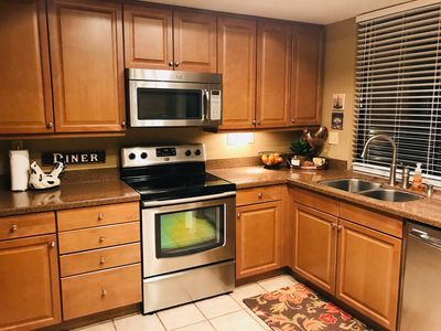Granite countertops, new stainless appliances.