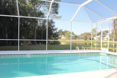 Pool is lakefront and very private and secluded
