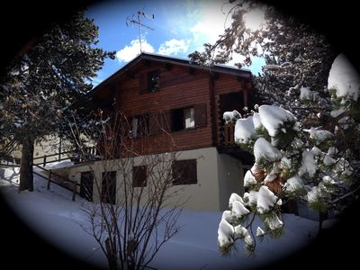 Photo for Real wooden chalet 8 to 9 people in the center of Font Romeu