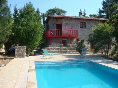Photo for Rural stone cottage/villa in a forest with beautiful pool. As in The Times trav