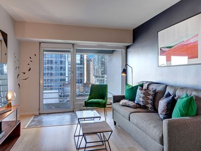 Photo for Professionally Designed Luxury Condo w Water Views! WiFi, Fitness, Parking, 2 Blocks to Pike Place!