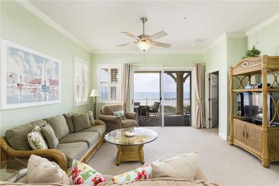 Living Room Has a Beachy Feel - The main living area at 831 Cinnamon Beach is airy, open and very inviting! Gather your family and friends for TV or game time.