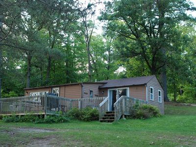 Photo for 2BR Cabin Nestled in Towering Pines on a quiet lake. Pets accepted!