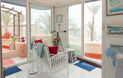Apartment with air con and wonderful port view, Centre of Estepona port easy walk to shops & bars
