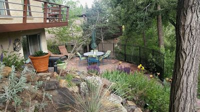 Private Patio with great views of mountains and garden area