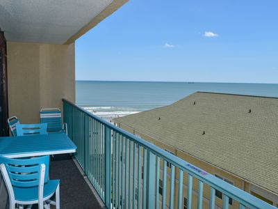 """Photo for Perfect location for your family. 2 bedroom, 2 bath oceanfront condo with OCEAN VIEW. Sleeps 8. Outdoor pool, lazy river, jacuzzi. Garage height 7'2"""". No pets. No motorcycles."""