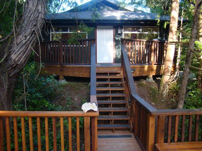 Photo for Forest View Cabin Private Hot tub located across from Cox Bay Beach