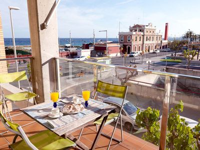 Photo for MEDITERRANIA - SEAFRONT APARTMENT - 4 minutes from the beach and 1 minute from the train station