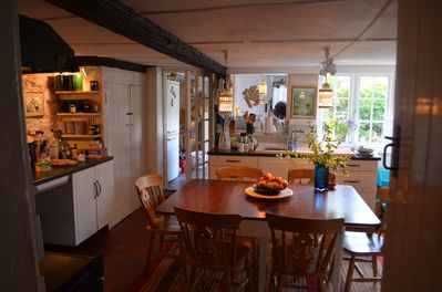 Kitchen through to scullery beyond