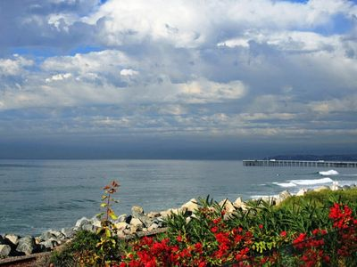 Photo for Luxury Beachfront Single Story, Spa, Deck, Walk to Pier & Surf