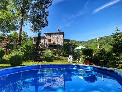 Photo for Holiday home at 400 m altitude, with garden and pool, beautiful view