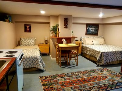 Full-sized and Twin bed sleep 3 comfortably.