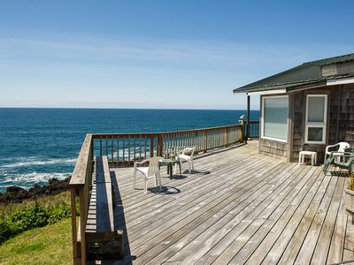 Photo for Sweeping views from this oceanfront pet friendly home in Depoe Bay!