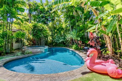 Backyard pool and spa. Optional child safety fence available, ask reservations manager for more details.