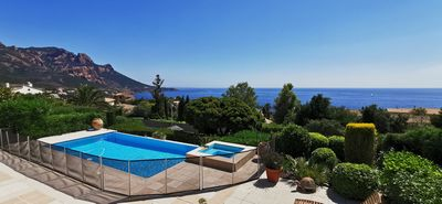 Photo for beautiful sea view apartment with pool and parking near the beach