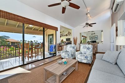 Living Room Looking into Dining Room and Kitchen.  Awesome ocean view from Lanai